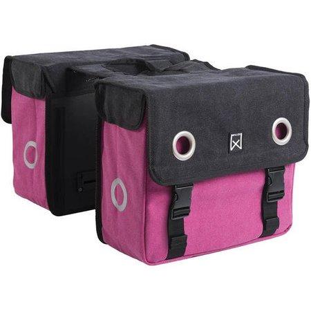 Willex Dubbele fietstas Canvas Tas Zwart/roze - 30 liter