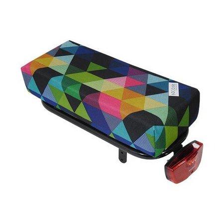 Hooodie Big Cushie Colored Triangles - zacht en opvallend, dik fietskussen voor op bagagedrager