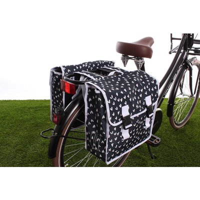 Basil Dubbele fietstas Mara XL Double Bag Heart dots