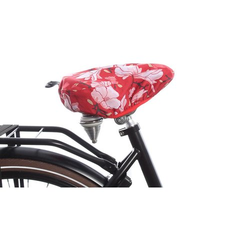 Basil Zadeldekje Magnolia Poppy red - waterafstotende, bloemrijke zadelhoes fiets
