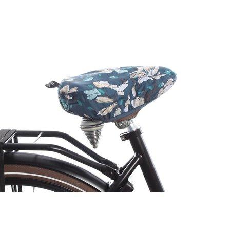 Basil Zadeldekje Magnolia Teal blue - waterafstotende, bloemrijke zadelhoes fiets