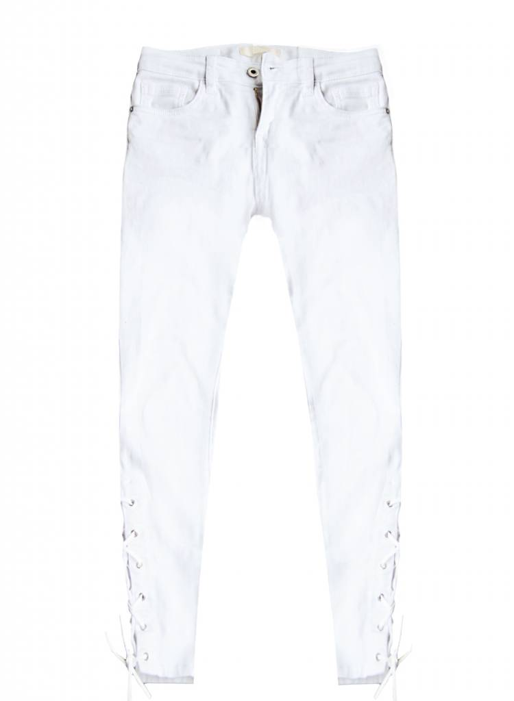 WHITE LACE UP JEANS