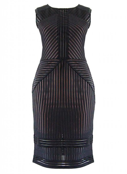 CHEVRON MESH DRESS