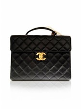 CHANEL CHANEL black caviar leather quilted briefcase