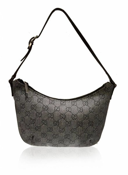 GUCCI GUCCI SMALL BLACK/GREY TOILE SHOULDER BAG
