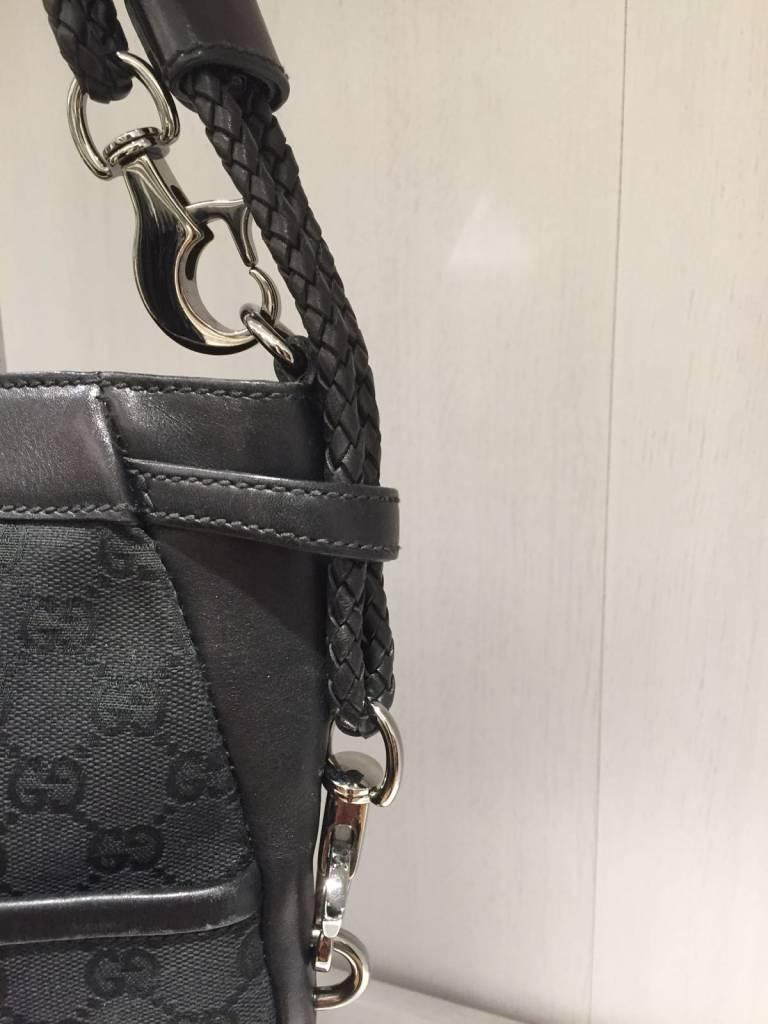 GUCCI GUCCI BLACK CANVAS WOVEN LEATHER STRAP BAG