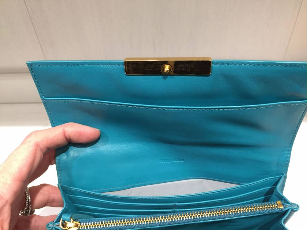 MIU MIU MIU MIU leather sea green purse