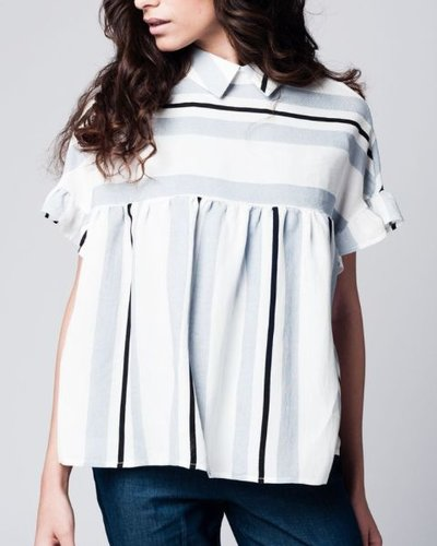 Blue smock top in stripe with ruffle sleeve