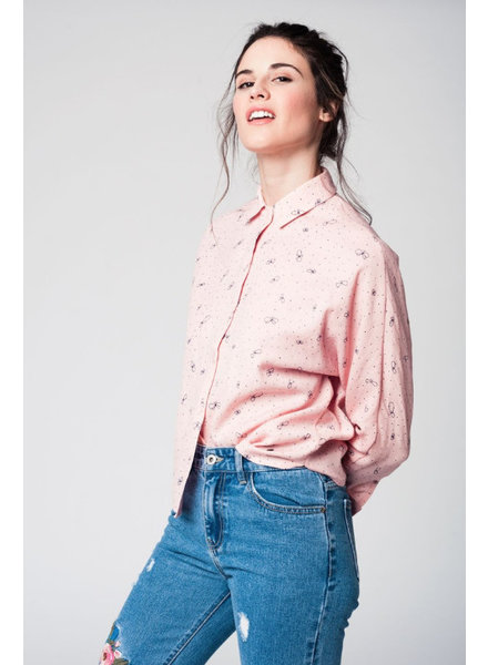 Pink butterflies and dots blouse