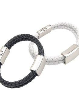 PA Accessoires Armband aus doppelt geflochtenem Leder, weiß