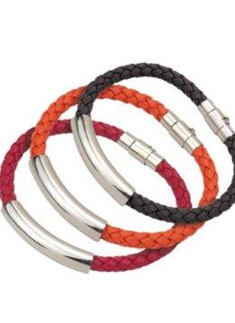 PA Accessoires Armband aus einfach geflochtenem Leder, orange