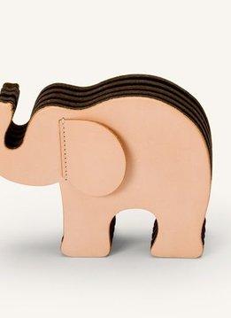 Faber-Castell GvFC Elefant Medium Naturleder mit 12 Polychromos
