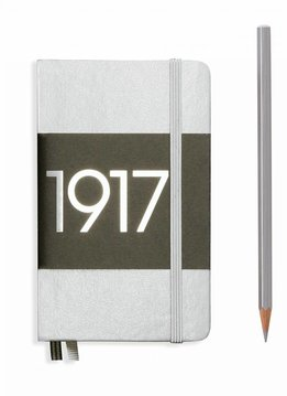 Leuchtturm Notizbuch Pocket A6 Hardcover metallic silber dotted