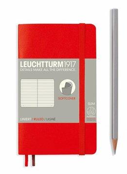 Leuchtturm1917 Notizbuch POCKET A6 Softcover rot liniert