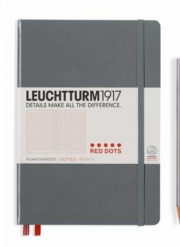 Leuchtturm Albenverlag LT Notizbuch MEDIUM Red Dots grey dotted HC