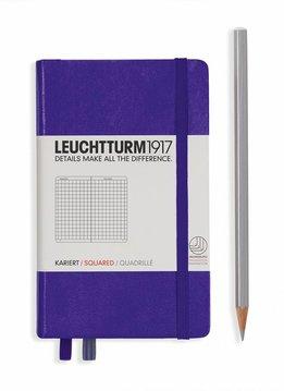Leuchtturm Albenverlag LT Notizbuch A6 POCKET HC purple kariert