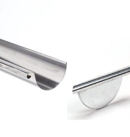 zinken goot rond 125 mm - 3 meter met rechts ingesoldeerd eindschot of optie uitloop