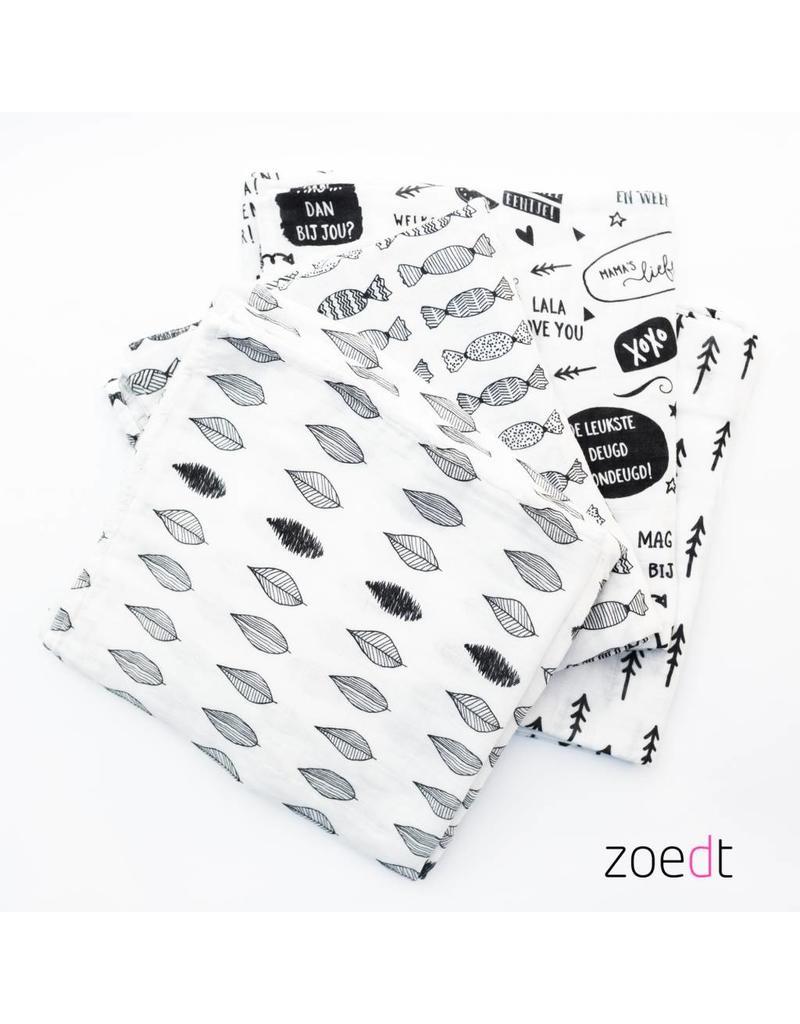 Zoedt Witte hydrofiele doek met zwarte snoepjes 120x120cm