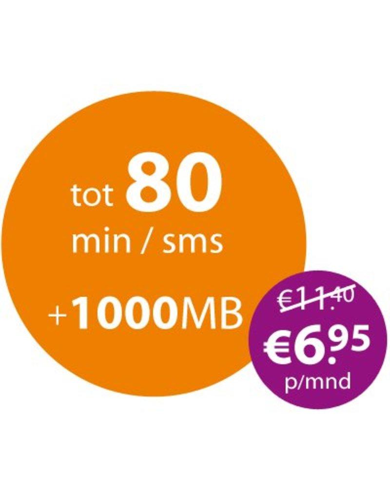 88mobile 1000MB + tot 80 min/sms