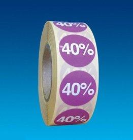 "ETIKET DIA25MM PAARS/WIT ""40%"" PERM. 1000/ROL"