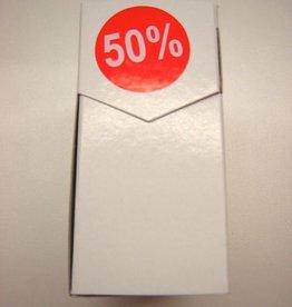 "ETIKET DIA35MM ROOD/WIT ""50%"" PERM. 500/ROL"