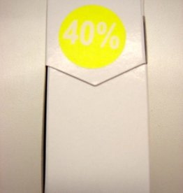 "ETIKET DIA35MM FLUO GEEL/WIT ""40%"" PERM. 500/ROL"