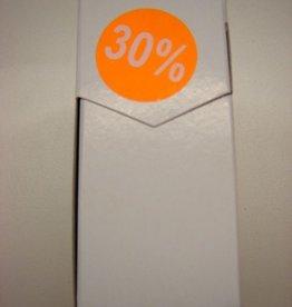 "ETIKET DIA35MM FLUO ORANJE/WIT ""30%"" PERM. 500/ROL"
