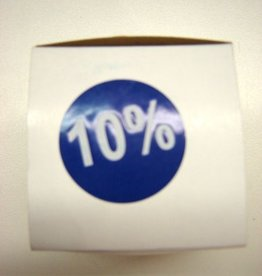 "ETIKET DIA35MM BLAUW/WIT ""10%"" PERM. 500/ROL"