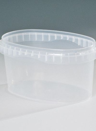 Becher oval   1,2 l klar   inkl Deckel