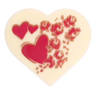 Schokoladendekor Herz weiß 50mm
