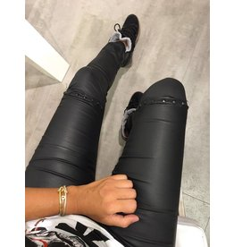 Black Leather Study Jeans