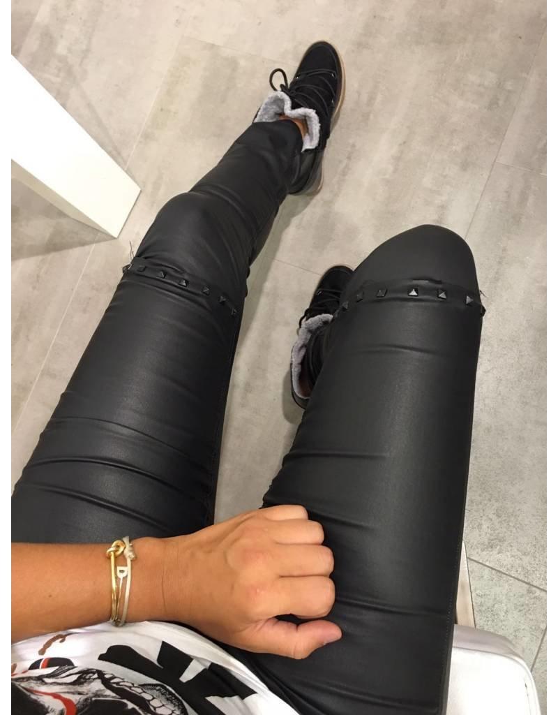 Black Leather Study Jeans