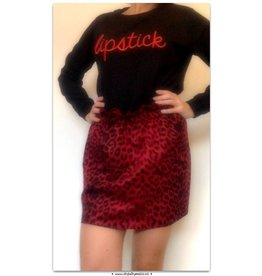 LEOPHARD SKIRT RED