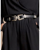 mbyM Black Leather Belt With Two Buckles
