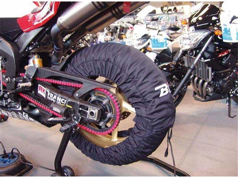Bandenwarmers voor 120 mm voorband en 150 tot 165 mm achterband.