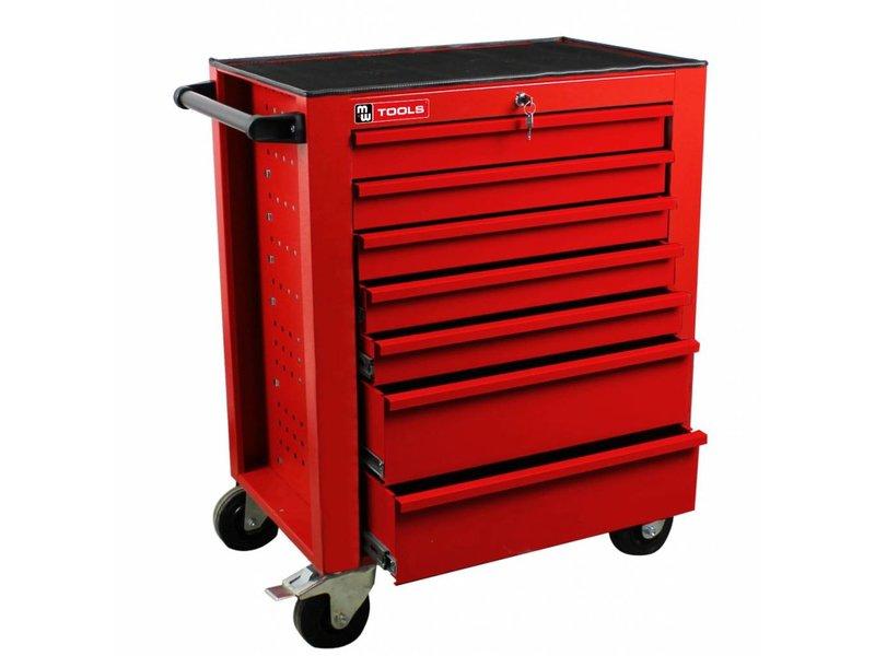 MW Tools Gereedschapswagen met 7 laden rood