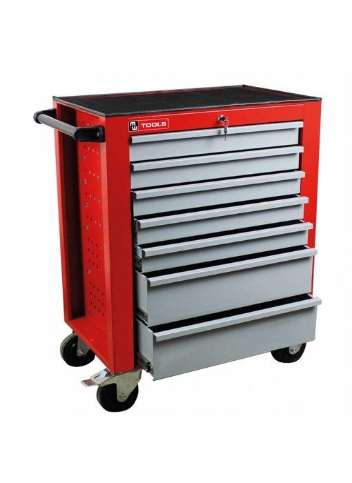MW Tools Gereedschapswagen met 7 laden rood-grijs