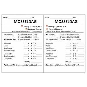 Inkomkaarten eetdag - Eetkaarten 2 x genummerd en geperforeerd