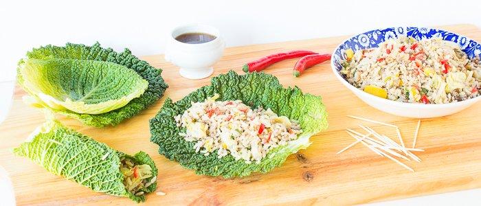 Gevuld koolblad, met rijst, gehakt en een vleugje Vietnam