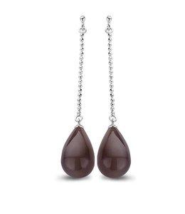 Casa jewelry Oorring Chere zilver - Grijze Agaat