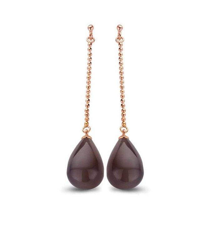 Casa jewelry Oorring Chere rosé - Grijze Agaat