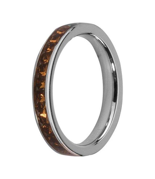 Melano Side Ring Zilver Coffee
