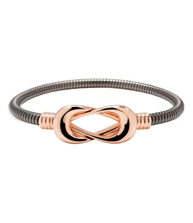 Bronzallure Armband Infinity Rose and Black Gold