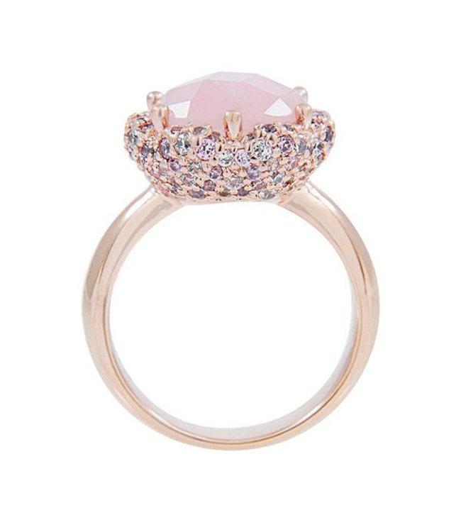 Bronzallure Ring Blossom Rose Quartz