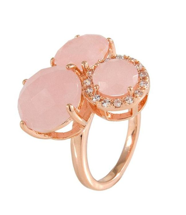 Bronzallure Ring Three Rose Quartz