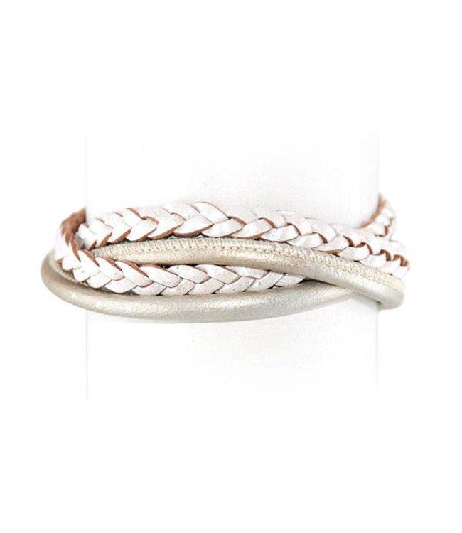 Souvenirs de Pomme Armband Ivory Multi Leather