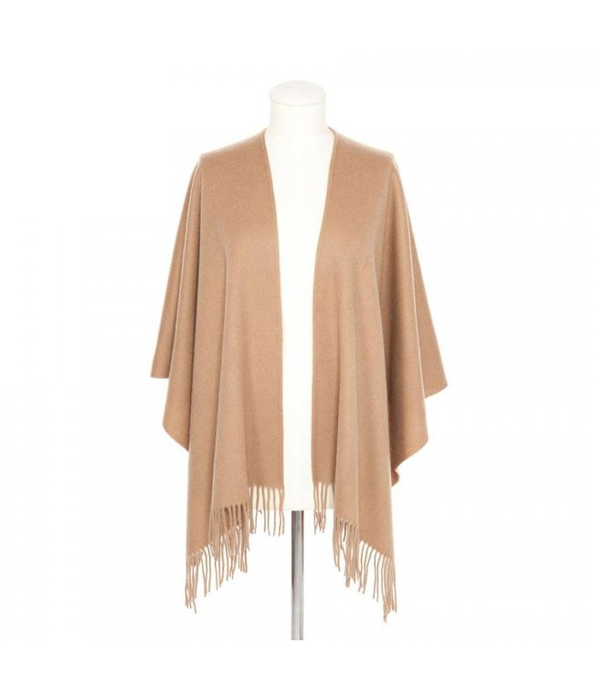 Codello Sjaal Solid Wool Poncho Camel