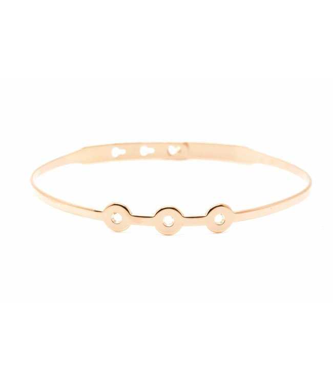 "Mya Bay Armband "" 3 Perforated circles"" Pink Gold"