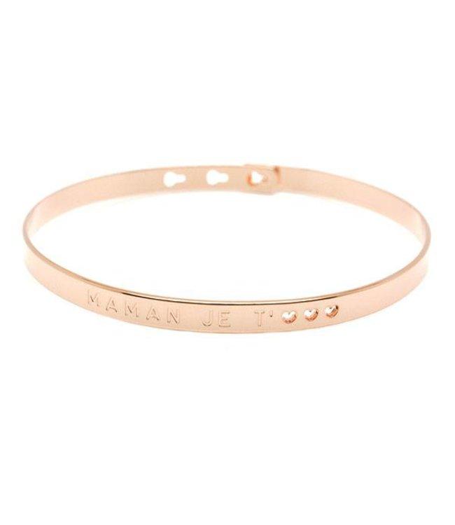 "Mya Bay Armband "" MAMAN JE T'<3<3<3"" Pink Gold"