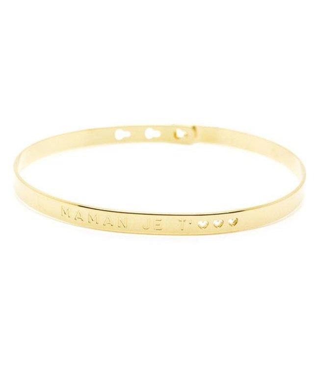 """Mya Bay Armband """" MAMAN JE T'<3<3<3"""" Gold"""